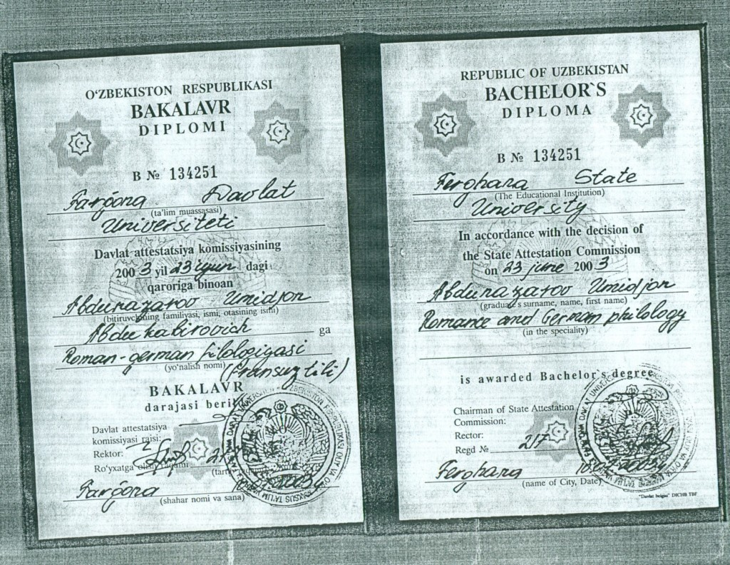 Umid Andunazarov's diploma issued by the Fergana State University in 2003