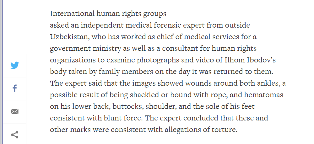 Extract from HRW and partners statement on Ibodov's death